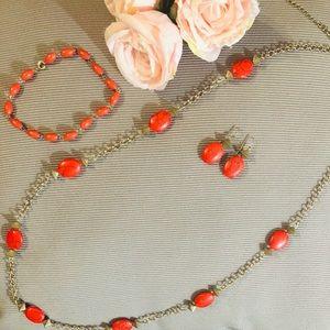 3 Pieces Statement Coral Colour Necklace